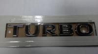 Шильдик «TURBO» хром, черные буквы